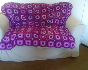 Purple AFGHAN crochet throw