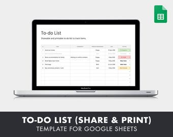 To-do List (Shareable and Printable) - Template for Google Sheets (online spreadsheet tool similar to Excel)