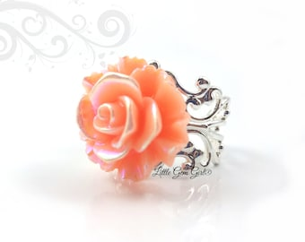Peach Rose Ring - Iridescent Light Orange Rose Ring with AB effect - 6 Metal Finishes HIGH QUALITY Adjustable Filigree Ring Rose Jewelry
