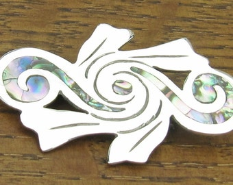 Sterling Abalone brooch pin inlay Mexican Mexico silver jewelry Taxco .925 vintage hand made