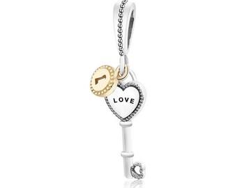 Love Heart Key Charm