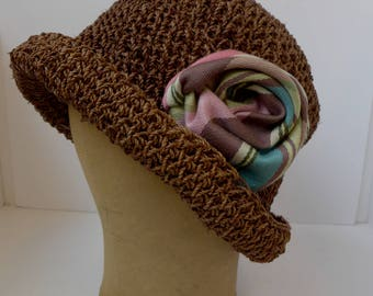 Crocheted Cloche Hat with Handmade Fabric Rose
