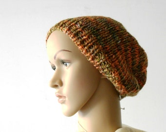 chunky knit beanie, rust melange hand knitted beanie, chunky wool beret in Merino wool by cosediisa mother's day gift Inspirational womens