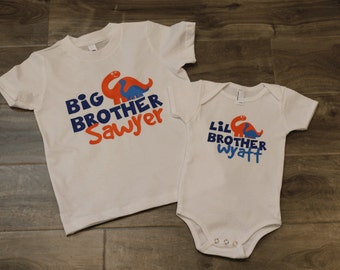 Big brother little brother  personalized name Tshirt and bodysuit set - DINOSAUR