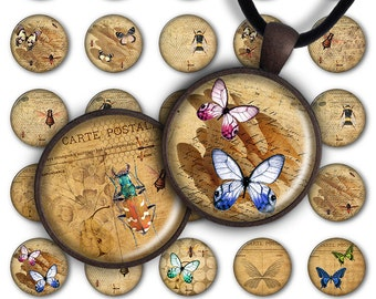 75% OFF SALE Bugs & Butterflies - Digital Collage Sheet PC079 Insects 1 inch round 1 inch circle Pendant 25mm nature jewelry making