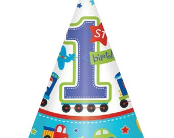 8 Ct Package Adorable Paper Party Hats - Colorful All Aboard Transportation Theme - Birthday Boy - 1st Birthday