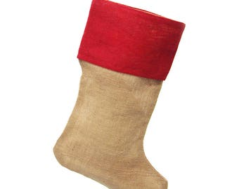Natural Burlap Christmas Stockings w/ Red Cuff, 24-Inch