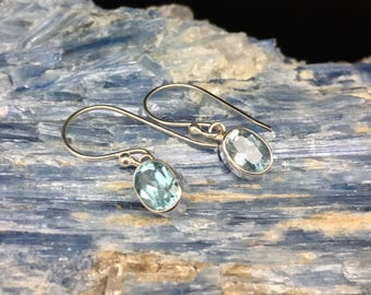 Blue Topaz Drop Earrings // 925 Sterling Silver // Oval Bali Setting