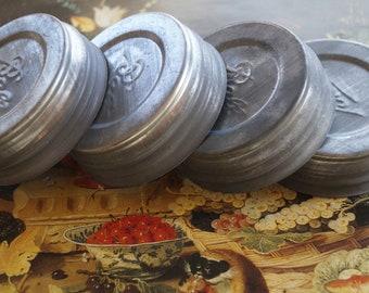 Zinc Mason Jar Lids / Old Time Metal & Milk Glass Goodness / Ball Mason Jar Caps / Rustic Farmhouse Vintage Mason Decor / Four Lovely Lids
