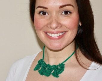 Handmade Crochet Green Leaves Necklace