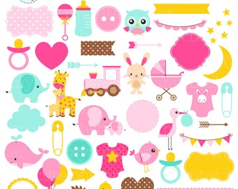 Baby Girl Clipart Set - digital elements - borders, bunting, flags, baby, frames - personal use, small commercial use, instant download