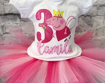 peppa pig birthday outfit, peppa pig outfit, peppa pig birthday, peppa pig birthday shirt, pink tutu, peppa birthday outfit, peppa tutu