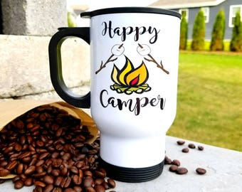 Happy Camper/Stainless Steel Travel Coffee Mug/14 ounces