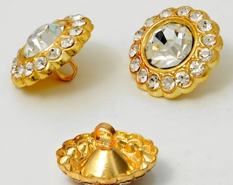 21mm Crystal Rhinestone Button with Shank by each, Gold, Silver,  ROI-RB532