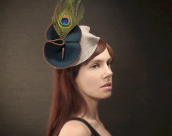 Teal Felt Fascinator With Copper Chain, Leather, and Feather Accents - Made to Order