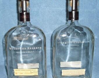Set of 2 Woodford Reserve Kentucky Straight Bourbon 1 Liter Bottle Label Stopper