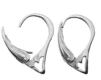 HEARTS European Mega Unique  Sterling Silver 925 Ear wares Ear wires Leverback Hooks