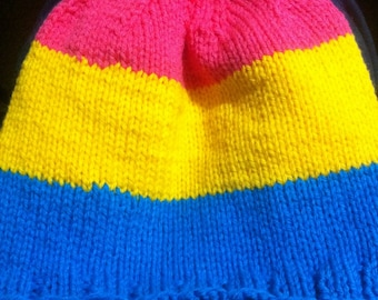 Pansexual pride winter hat - made to order