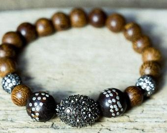 Beaded Bracelet, Crystal Bracelet, Wood Bead Bracelet, Hematite Bracelet, Prayer Bead Bracelet, Stretch Bracelet, Boho Jewelry, Stackable