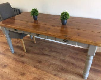 Farmhouse planked dining table