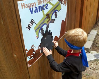 Pin the Tire on the Monster Truck Printable game!  Personalization included!