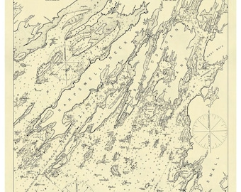 Casco Bay East 1909 Harbor Chart Nautical - Maine - Eldridge 62 - Reprint