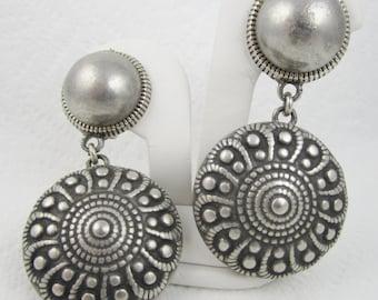 Big Vintage Dangle Earrings Signed Margherita Buonanno Italy Designer