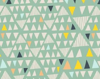 Southwestern Geometric Fabric | Mint Fabric with Triangles Arrows | Mojave Aloe | Morning Walk | Art Gallery Fabric | Leah Duncan | MWK-2116