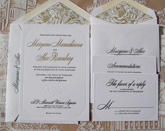 Letterpress Wedding Invitation DEPOSIT, Wedding Invitation, Classic Wedding Invitation, Wedding Invitation Suite, Modern Wedding Invitation