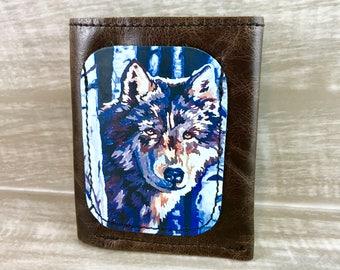 Leather Billfold Unisex Mens Style Wallet (Zipper Pocket) Wolf Digital Photo Print Genuine Leather / Brown