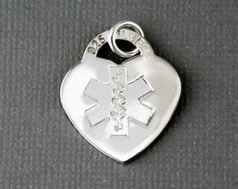 High Polished Silver Finish Heart Medical Symbol Charm, Sterling Silver, Medical ID Heart Charm, Heart Pendant, Medical Alert Charm, CM031MD