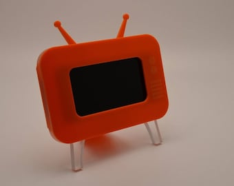 I Phone 6, 7 Orange Mobile Phone Acrylic TV Stand Novelty Christmas Gift
