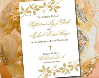 "Catholic Wedding Program Template - Printable Fold Over Ceremony Program ""Enchanted"" Gold Order of Ceremony - Printable Program Download"