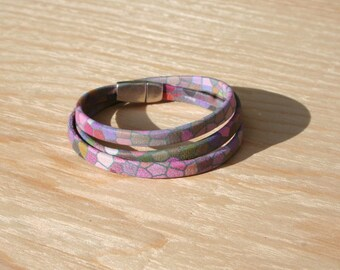 Women bracelet leather pattern stained glass 5 mm - 3 turns - multicolored - magnetic clasp