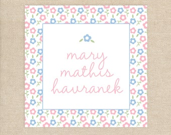 24 Blue and Pink Floral Water Resistant Stickers