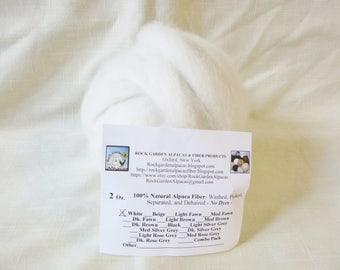 2 oz White Alpaca Roving -  for Spinning, Nuno Felting or Needlefelting