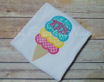 Ice Cream Shirt, Ice Cream Party, Girls Summer Shirt, Ice Cream Monogram, Baby Monogram, Applique Ice Cream, Ice Cream Social Shirt