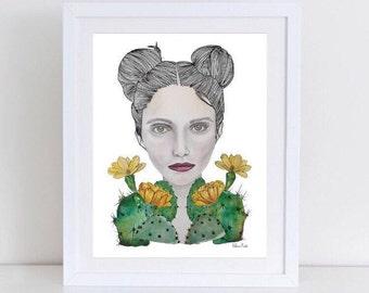 Cactus girl, cactus print, cactus girl illustration, girl print, botany illustration, succulent  print, watercolor print, surrealism, cactus
