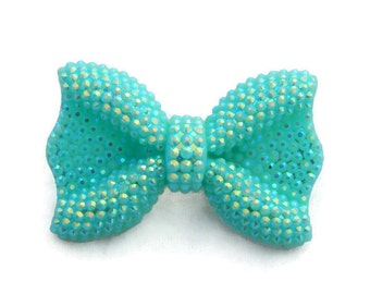 Aqua Bow Brooch, Sparkly Bow Pin, Iridescent Blue Green Rhinestone, Pin up, Vintage Inspired, Retro, Resin, Rockabilly