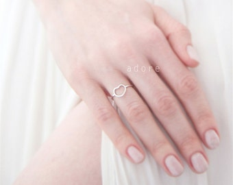 Petite Dainty Silver Heart Thin Band Ring