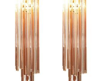Murano triedro Glass wall sconces pair