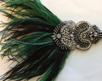 Great gatsby headband, flapper headpiece 1920s. Art Deco ostrich  feather fascinator, dark green flapper headdress, ostrich green Art Deco