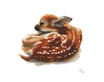 Deer Fawn watercolor painting. Giclee Print. Nature or Animal Illustration. Red and Orange.