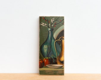 Paint by Number Art Block 'Blue Vase' - food, brass, apples, blue glass, vintage art