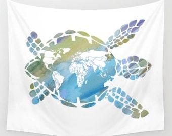 "Sea Turtle Blanket - ""Mother Earth""  comfy fleece throw blanket - Ocean reef, surf, surfer, undersea turtle, animals, blue and green,"
