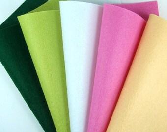5 Colors Felt Set - Lotus - 20cm x 20cm per sheet