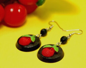 Handmade Retro Tutti Frutti Cherry Earrings - Cherries Fruit Vintage Bakelite Inspired - Rockabilly Pin Up VLV Custom Culture