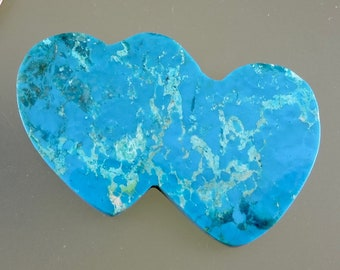 Cananea Turquoise Cabochon, Cananea Turquoise Double Heart Cab, Designer Turquoise Double Heart, C3028, Hand Cut by 49erMinerals