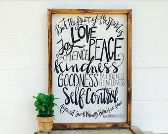 The Fruit of the Spirit | Galatians 5:22-23 Large Rustic Sign | Home Decor | Mantle Sign | Gallery Wall