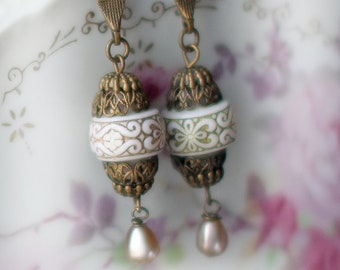 Rococo Beauties  ~ vintage assemblage earrings champagne pear drops one of a kind boho chic wearable art crowned by grace
